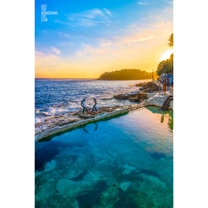 Buy fine art framed prints of a aerial seascape above Fairy Bower Rockpool at Sunrise. Manly, Sydney by Allan Chan