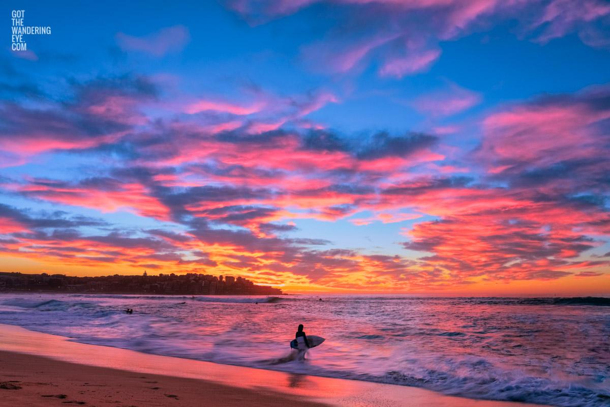 Surfer watching a stunning pink puffy cloud sunrise over beautiful Bondi Beach by Allan Chan