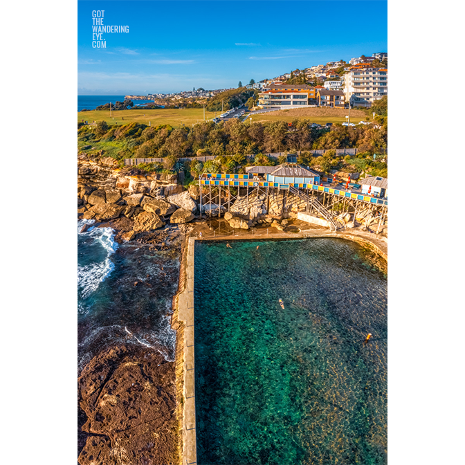Swimmers enjoying morning laps at Wylies Baths, Coogee
