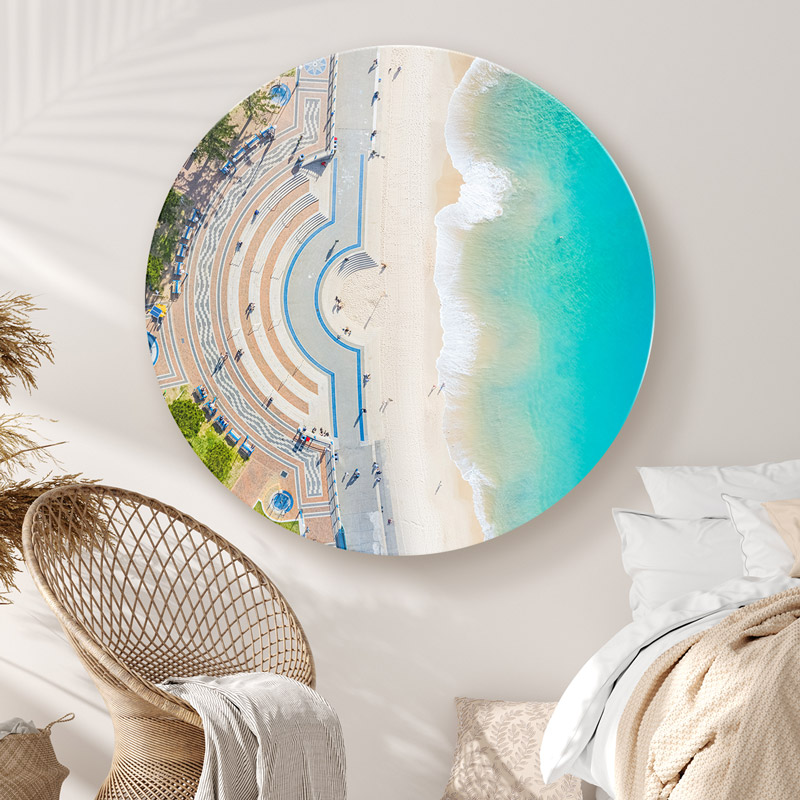 ChromaLuxe round metal wall art ocean prints. Aerial oceanscape above Coogee Beach promenade.