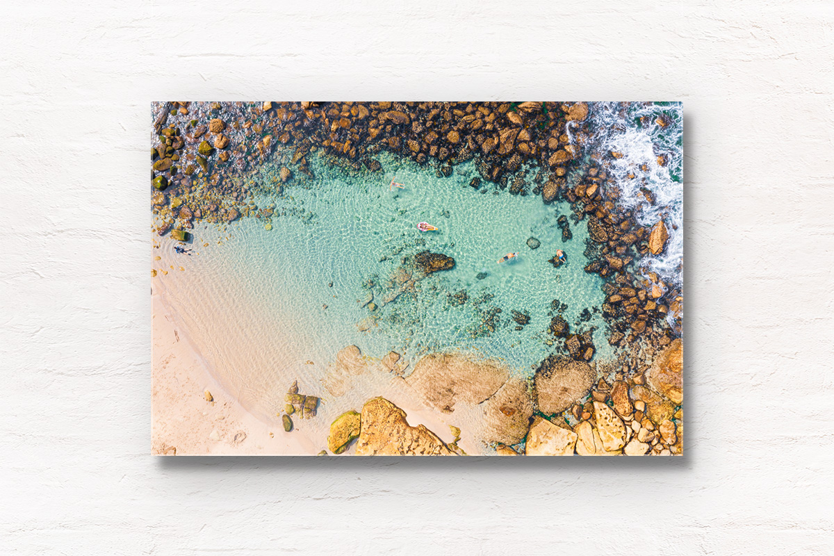 Buy framed acrylic wall art prints. Swimmers floating in crystal clear waters of Bronte Beach Bogey Hole