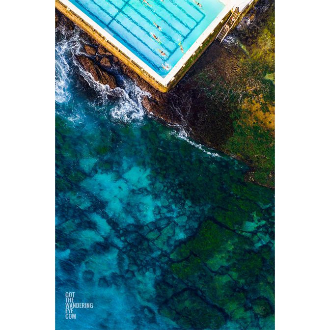Iceberg swimmers swimming laps in the crystal clear, world famous Bondi Beach Icebergs club.
